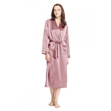 19 Momme классический шелковый халат в полную длину, халат с косым v-образным вырезом, короткое кимоно, халат подружки невесты, S-XXXL