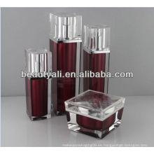 30ml 60ml botella cosmética de la loción de acrílico cosmética cuadrada de 100 ml