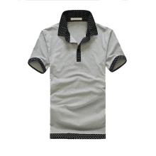 Light Grey Navy Blue Collar Leisure Golf Patterned Polo Shirts