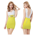 Splicing color sexy  yellow one-piece