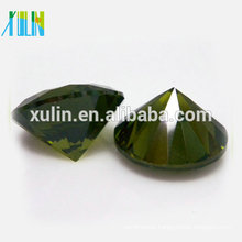 Round brilliant cut olive stone crystal zirconia loose gems wholesale