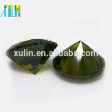 Rodada corte brilhante pedra de oliveira cristal zirconia pedras soltas atacado