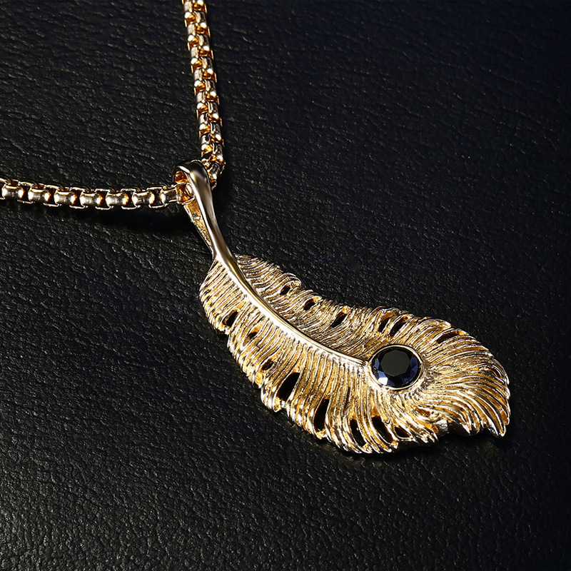 Hot Fashion Original Stainless Steel Casting Feather Pendant