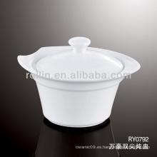 Buena calidad plato de sopa de porcelana blanca china