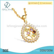 Collar de diamante de 18k, joyería del collar del colgante de la gota del agua