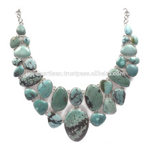 Tibetan Turquoisae Gemstone 925 Sterling Silver Necklace Jewelry