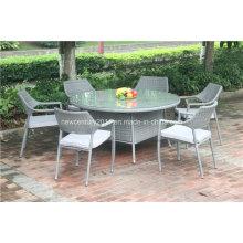 Silla apilable de ratán al aire libre y mesa de mimbre grande Kd de jardín