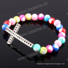 Fashion Bangle, Adjustable Rosary Fashion Bracelet with Cross