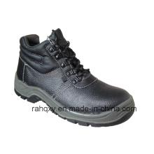 Sapatos de segurança dividir couro gravado com malha forro (HQ01006)