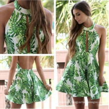 Classical Style Fashion Lady Sexy Dress Green Flower Skirt Beauty Back Clothes