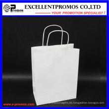 Personalizado de color blanco Kraft bolso de compras (EP-B581705)