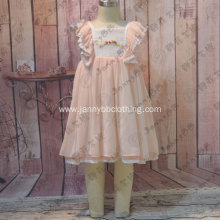 pink chiffon fabric hand embroidery kids dress