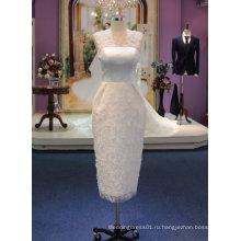 Новое Прибытие 2017 короткое свадебное платье с нежным цветком