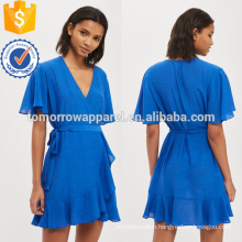 Blue Linen Ruffle Wrap Dress OEM/ODM Manufacture Wholesale Fashion Women Apparel (TA7117D)