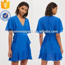 Синее постельное белье Рябить обернуть платье OEM и ODM Производство Оптовая продажа женской одежды (TA7117D)