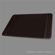 Almofada de mesa de couro marrom de qualidade com suportes laterais