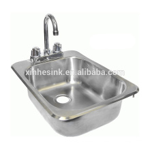 Fregadero de lavado de manos de acero inoxidable NSF con orificios para grifería