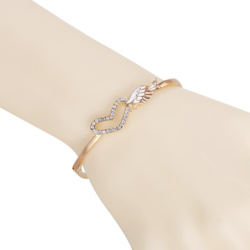 Girl angel wing crystal heart vogue Bracelet alloy