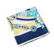 2018 Novo design 130x130 cm relógios Romanos padrão cachecol lenços de seda de impressão senhoras 60% de seda + 40% lenço de tecido de algodão elástico