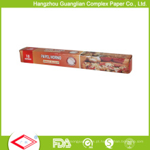 Rolo Unbleached Greaseproof do papel de cozimento do silicone de 30cmx5m para o uso do forno