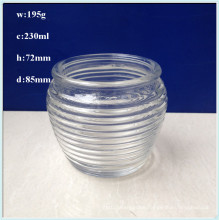 Round Shaped Glass Jars for Candle with Stripe