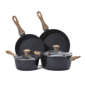 nonstick aluminium set bakelite handle with wooden coating 6pcs