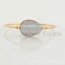 Bijoux forgés à la main 925 Silver Druzy Bangle pour femmes en gros