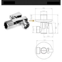 Латунный угловой клапан с треугольной рукояткой, хромированный, треугольный клапан