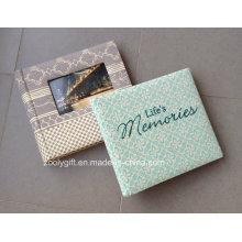 Álbum de fotos de alta qualidade em tecido de bordado Álbum de fotos em papel de impressão com janela