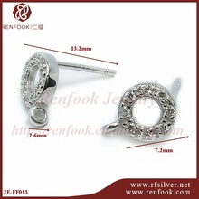 Factory Direct sale Renfook silver earring with cz stone jewelry China supplier