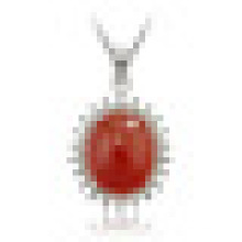 Women′s 925 Sterling Silver Pendant Necklace Inlaid Red Chalcedony with Chain