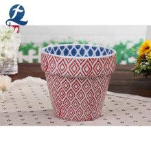 Pots de fleurs en céramique à double couleur à rayures recyclables
