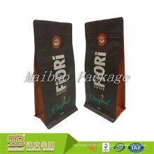 Оптовая плоского дна качества еды 500г 1кг Упаковка алюминиевая фольга ziplock изготовленный на заказ Метки частного назначения матовый черный мешок кофе