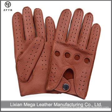 Gant de conduite en cuir d'hiver en cuir véritable de couleur cuir masculin
