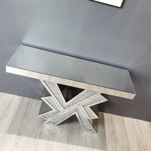 table console en verre miroir cristal