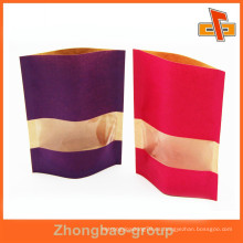Resealabel personalizable stand up kraft bolsa de papel con ventana transparente