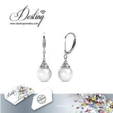Destino joyas cristales de Swarovski lazo de perlas pendientes