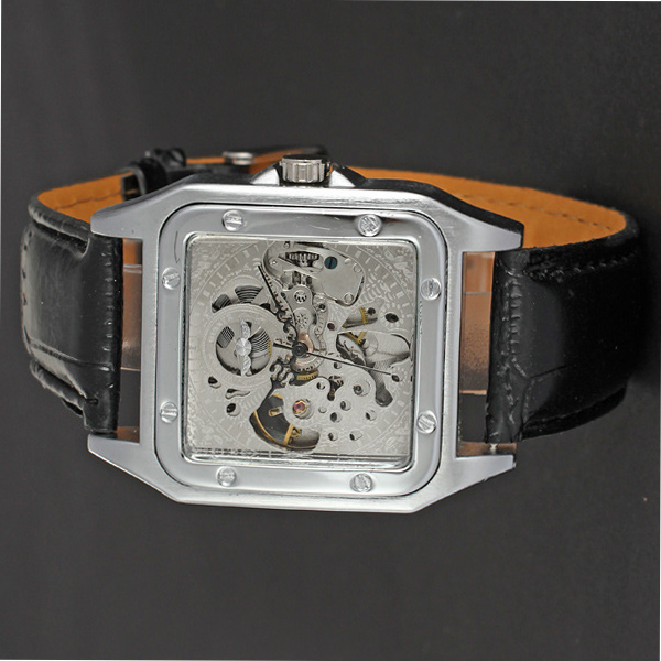 personalized watch with no dial face winner leather watch for man
