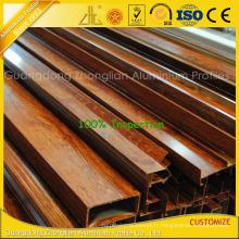 Profils en aluminium extrudés d'extrusion en aluminium pour Windows avec des couleurs en bois