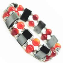Ágata 8MM Round Beads Esticar Gemstone espaço pulseira com liga e hematita