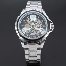 winner classical mechanical watch with visible mechanism
