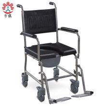 Подвижный стальной складной стул для туалета с четырьмя колесами