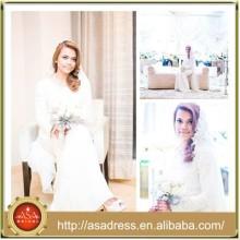 MSL139 muslimische Brautkleidspitze und Chiffon- lange Hülsen-Meerjungfrau islamisches Hochzeitskleid