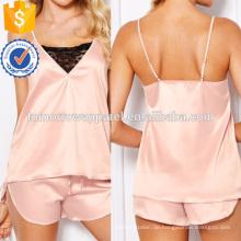 Spitzeneinsatz Satin Top und Shorts Pyjama Set Herstellung Großhandel Mode Frauen Bekleidung (TA4071SS)