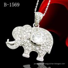 Pingente de elefante com pedras CZ (B-1569)