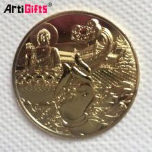 China fazendo lembrança comemorativa ouro de prata buda cobre moeda em branco