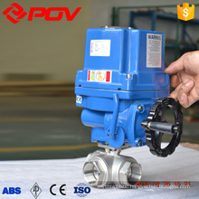 3 way thread connection explosion proof flanged motorized ball valve