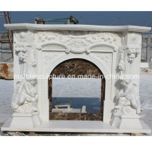 Child Statue Surface Carved Marble Fireplace (SY-MF210)