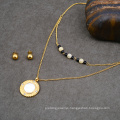 Dainty Choker Beads Necklace Big Shell Pendant Indian Bridal Gold Jewelry Set