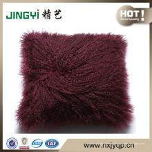 Véritable oreiller en laine de mouton tibétain tibétain en laine d'agneau marron foncé